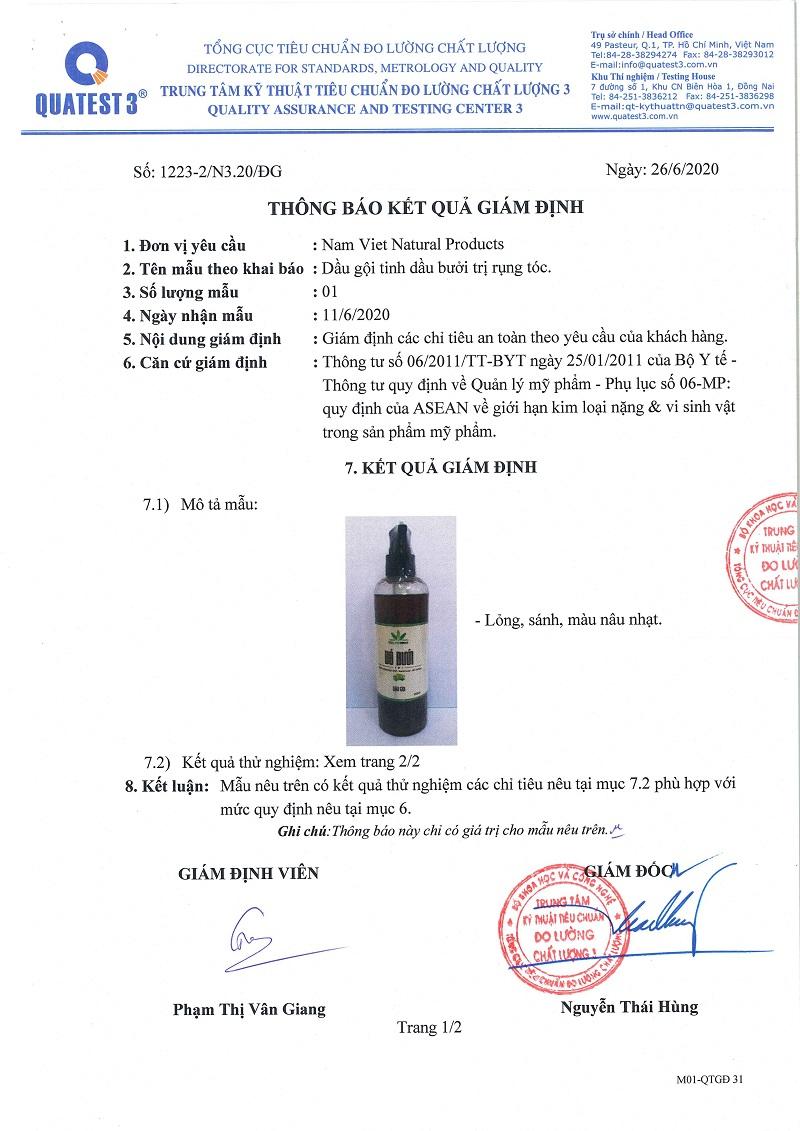 Dầu Gội Trị Rụng Tóc Bưởi & Hương Thảo
